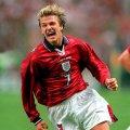 David Beckham wearing England 1998 Away shirt
